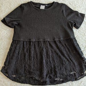 Lauren Conrad Black Mixed Media Blouse - XL
